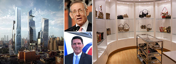 From left: rendering of Hudson Yards, Stephen Ross (top), Coach CEO Dale Moser and a Coach store