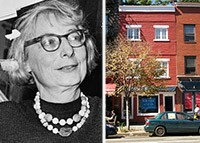 From left: Jane Jacobs and 555 Hudson Street