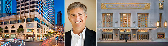 From left: Parc 55 Wyndham in San Francisco, Christopher Nassetta and the Waldorf Astoria