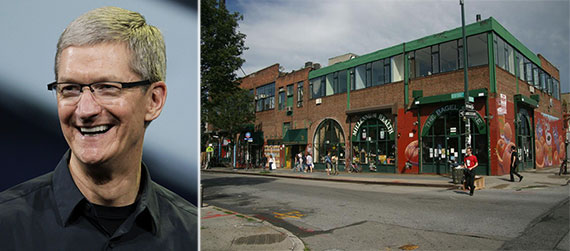 From left: Tim Cook and 247 Bedford Avenue, Williamsburg