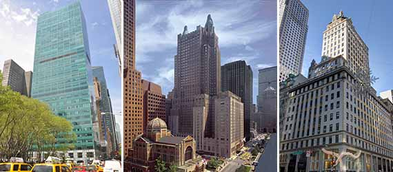 From left: 3 Bryant Park, the Waldorf Astoria and the Crown Building