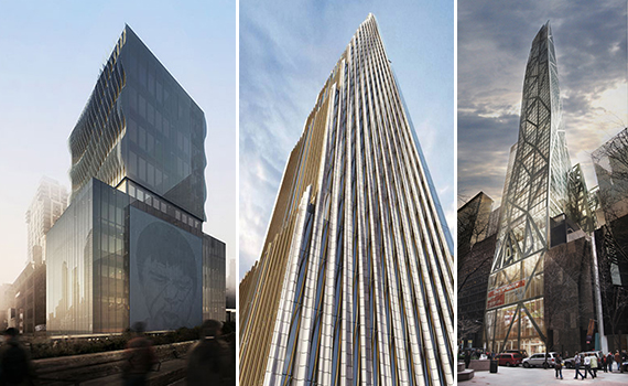 From left: Renderings of 515 Highline, 111 West 57th Street and 53W53