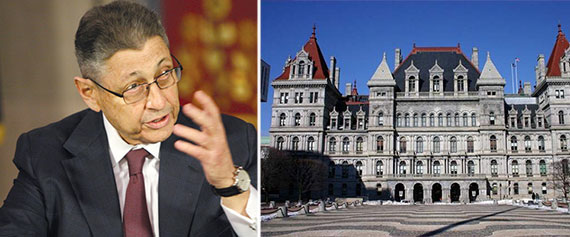 From left: Sheldon Silver and the State House in Albany