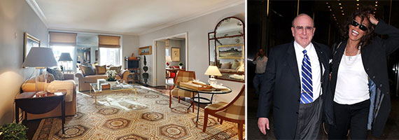 From left: Unit 13A at 465 Park Avenue and Clive Davis with Whitney Houston