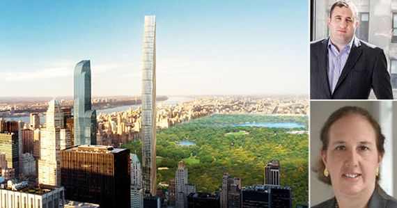 Clockwise from left: A rendering of 111 West 57th Street, Michael Stern and Gale Brewer