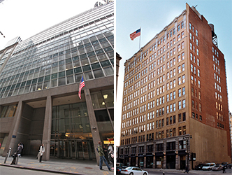 From left: 123 William Street in Lower Manhattan and 434 West 33rd Street on the West Side
