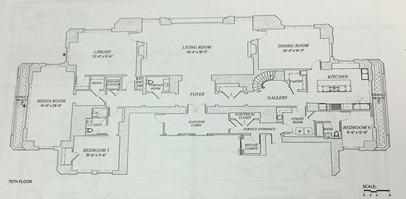 The floorplan for Penthouse 76 at 220 Park South (Click to enlarge   Photo: E.B. Solomont/The Real Deal)