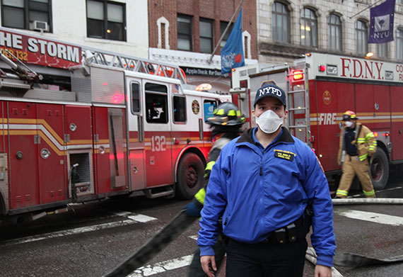 Hundreds of first responders were at the scene of a building explosion at Second Avenue and Seventh Street on Thursday afternoon (Credit: Claire Moses/The Real Deal)