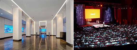 From left: the lobby at 330 Hudson Street and a TED talk