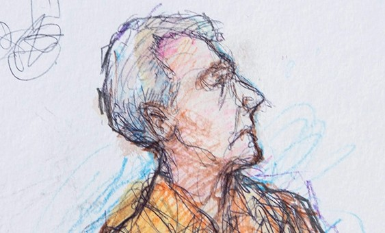 A sketch of Robert Durst during his court appearance Credit: Tony Champagne/Reuters)