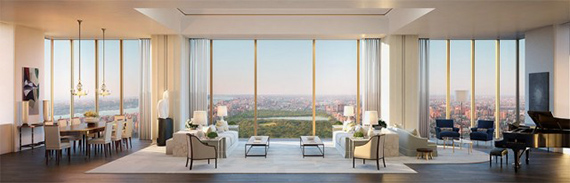 A rendering of a living room at 111 West 57th Street