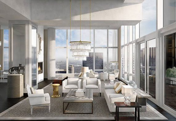 Rendering of the penthouse at the Baccarat Hotel  Residences