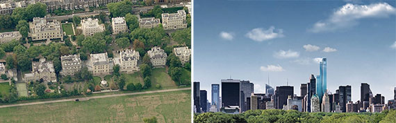 From left: Billionaire's Row in London and Billionaire's Row in New York