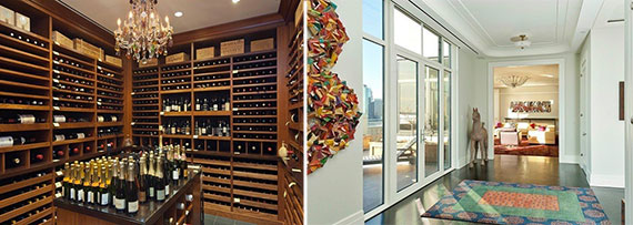 From left: A 3,500-bottle wine room and a living room at One Brooklyn Bridge Park