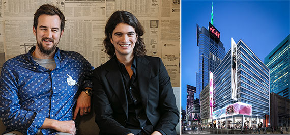 From left: WeWork's Miguel McKelvey and Adam Neumann and a rendering of 1460 Broadway