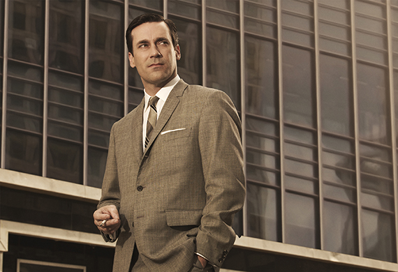 Jon Hamm in front of the Time-Life Building