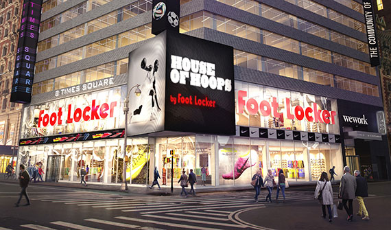 Rendering of a new Foot Locker megastore in Times Square (image via the New York Post)
