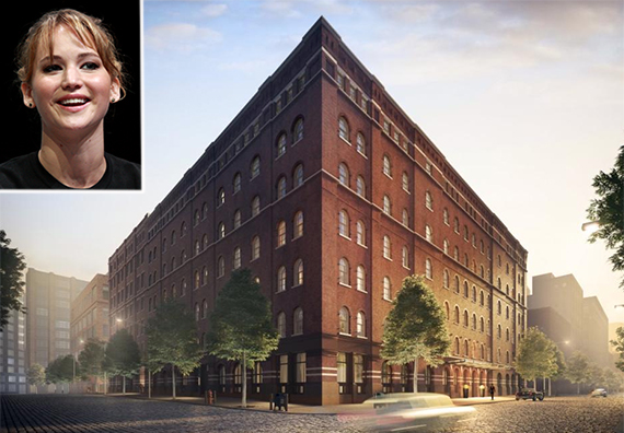 Rendering of 443 Greenwich Street in Tribeca (inset: Jennifer Lawrence)