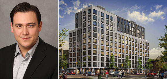From left: Ariel Aufgang and a rendering of 535 Fourth Avenue in Park Slope (Credit: Ariel Aufgang Architects)