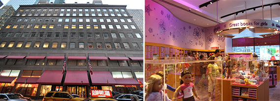 From left: 609 Fifth Avenue and an American Girl Place store