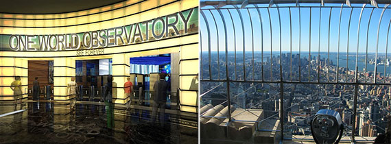 From left: One World Trade Center's observatory entrance and the viewing deck of the Empire State Building