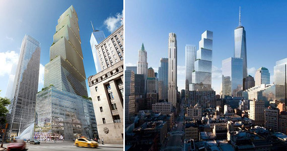 Renderings of 2 World Trade Center in Lower Manhattan (credit: DBOX)