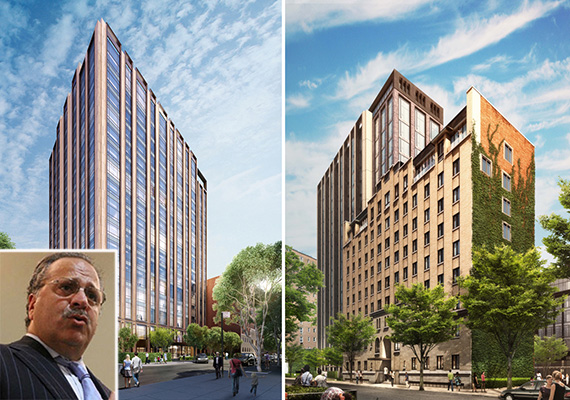 From left: Renderings of 215 East 19th Street and 225 East 19th Street (credit:  Woods Bagot) (inset: Joseph Chetrit)