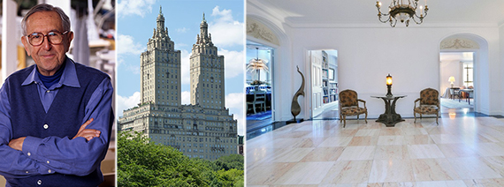 From left: Cesar Pelli, the San Remo on the Upper West Side and Pelli's new unit in the building