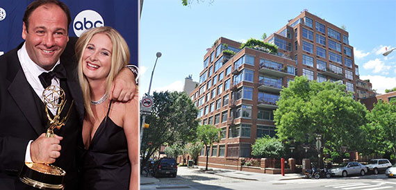 From left: James Gandolfini with Marcy Wudarski and 99 Jane Street in the West Village