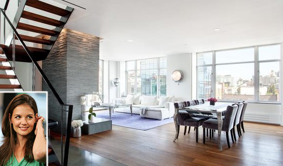 201 West 17th Street in Chelsea (inset: Katie Holmes)