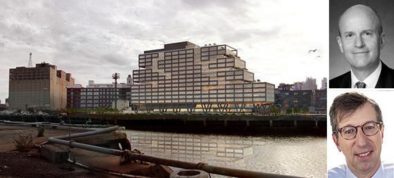 Rendering of WeWork building at the Brooklyn Navy Yard (credit: S9 Architecture) (inset: Boston Properties CEO Owen Thomas, top, Rudin Management chairman Bill Rudin, bottom (credit: STUDIO SCRIVO))