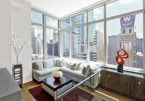 Living room at a $21 million triplex at