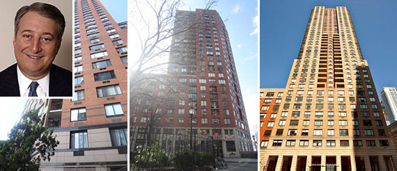 From left: 377 Rector Place, 380 Rector Place and 200 Rector Place (inset: Howard Milstein)