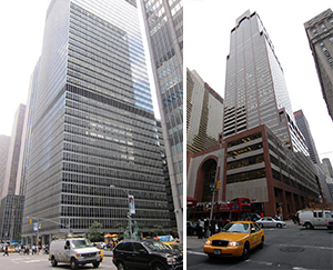 From left: 1285 Sixth Avenue and 787 Seventh Avenue