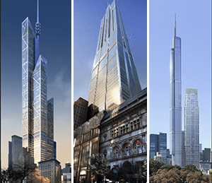 Three renderings of 217 West 57th Street in Midtown. From left: Foster + Partners, Rogers Stirk Harbour + Partners and the final Smith +Gill design