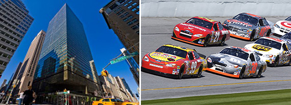 From left: 590 Madison Avenue and a NASCAR race