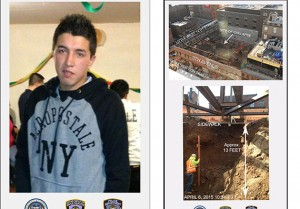 Carlos Moncayo and the Restoration Hardware site at 9-19 Ninth Avenue (credit: New York District Attorney's Office)
