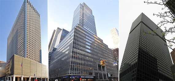 From left: 909 Third Avenue, 750 Third Avenue and 919 Third Avenue