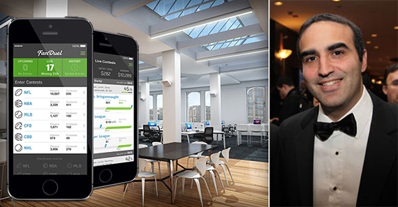 From left: FanDuel app, a rendering of the top floor of 300 Park Avenue South and Justin Elghanayan