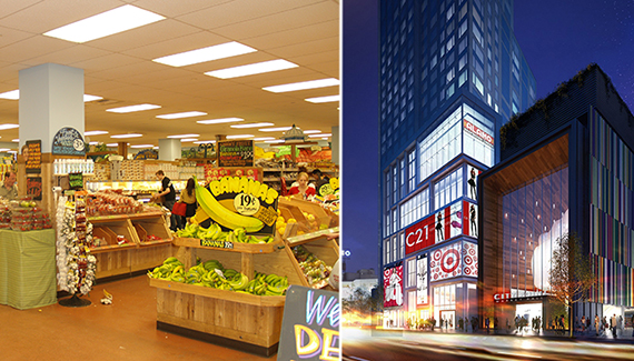 From left: Trader Joe's in Union Square and rendering of City Point in Downtown Brooklyn