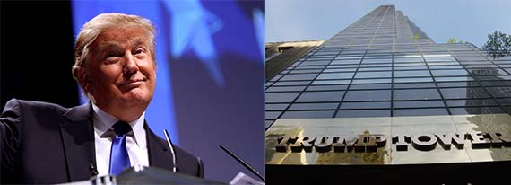 From left: Donald Trump and the Trump Tower