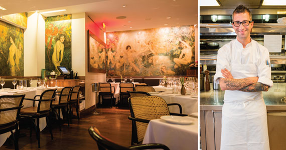 From left: The dining room of the Leopard de Artistes and Chef Michele Brogioni (photography by Siobhan Harrington)
