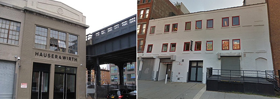 Hauser & Wirth's gallery on 18th Street and the building at 542 West 22nd Street