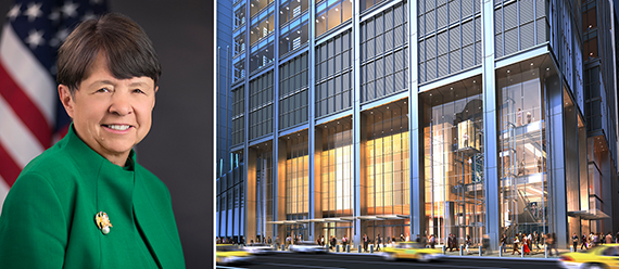 From left: SEC Chair Mary Jo White and a rendering of 3 World Trade Center, for which bonds were offered on crowdfunding platform Fundrise