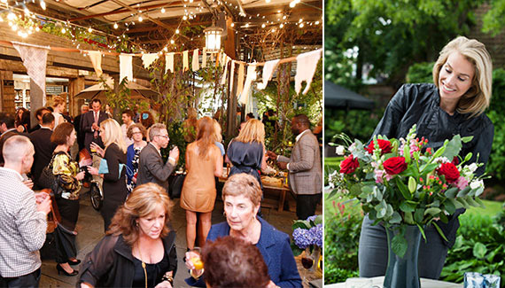From left: The launch party was held under a canopy of vines at the McKittrick Hotel's rooftop garden bar, Frederique van der Wal