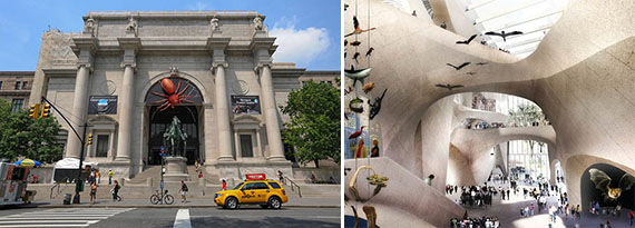 The Natural History Museum at on the Upper West Side and a rendering of its new addition