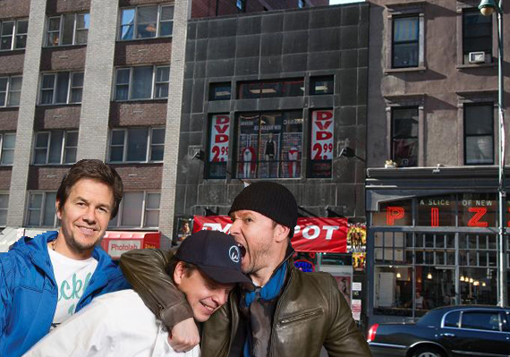 725 Eighth Avenue in Midtown (inset from left: Mark, Paul and Donnie Wahlberg) (credit: A&E)