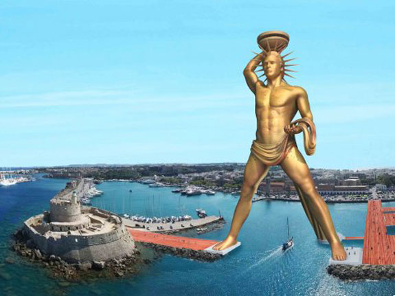 A rendering of the 400-foot Colossus of Rhodes reboot.