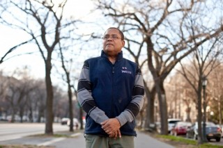 Superintendent Francis R Alphonse poses for a portrait in front of the 341 Eastern Parkway luxury apartments in Crown Heights, Brooklyn, N.Y. CREDIT: Bryan Anselm for ProPublica