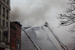 The aftermath of the explosion at 121 Second Avenue in the East Village (Credit: Claire Moses/The Real Deal)